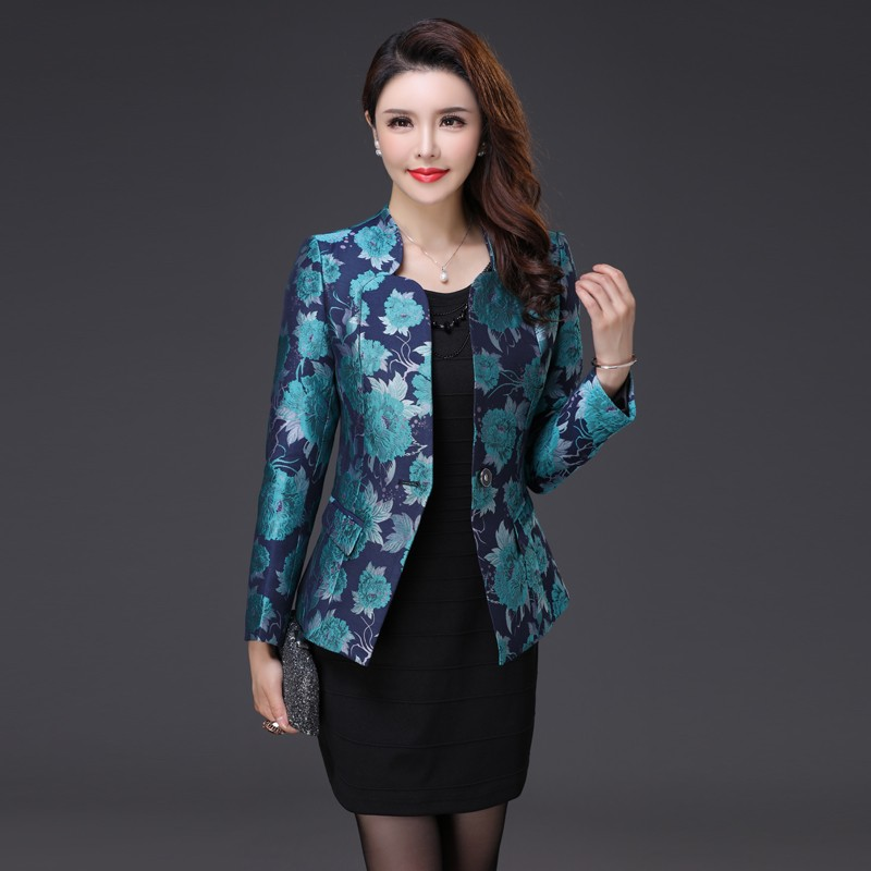 2018 New Autumn Jacket Blazers Women Plus Size Small suit Jacquard Blazer Tops Stand collar OL Coat One Button Blazer Female