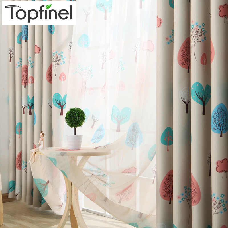 Topfinel Hot Sale Elegant Kids Room Curtains Blackout Cartoon Tree Design Window Curtains for Children Room Baby Girls Boys Gift