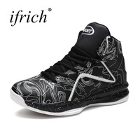 Ifrich New Arrival Big Size Sport Shoes Men Basketball Boots Leather Comfortable Sport Trainers High Top