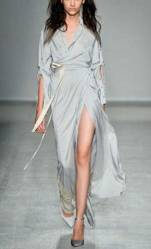 2016 mode sexy billetterie exquise élégante dames robe complète une pièce robe longue gris chemise robe
