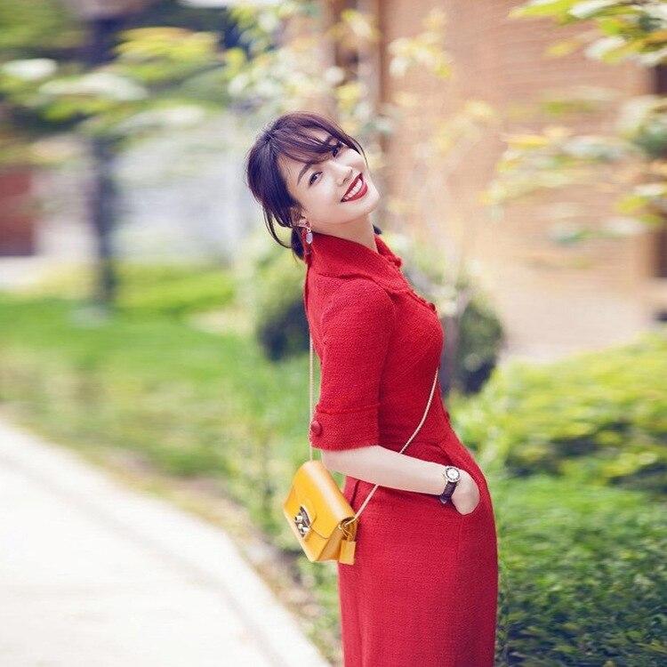 Robe Coréen 2018 Col Fête Grande Taille Park Caractère Tweed Hye Nouvelle Shin Lily De Même Élégant Poupée La Zanzea Tenue HFrHTwq