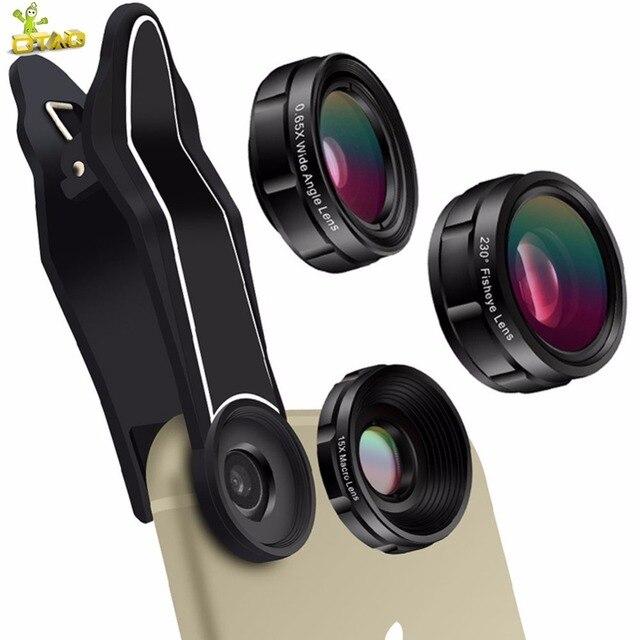 OTAO Universal Mobile Phone Lenses 0.65X Super Wide Angle + 15X Macro Lens + 230 Degree Fisheye Lens HD Phone Camera Lens Kit