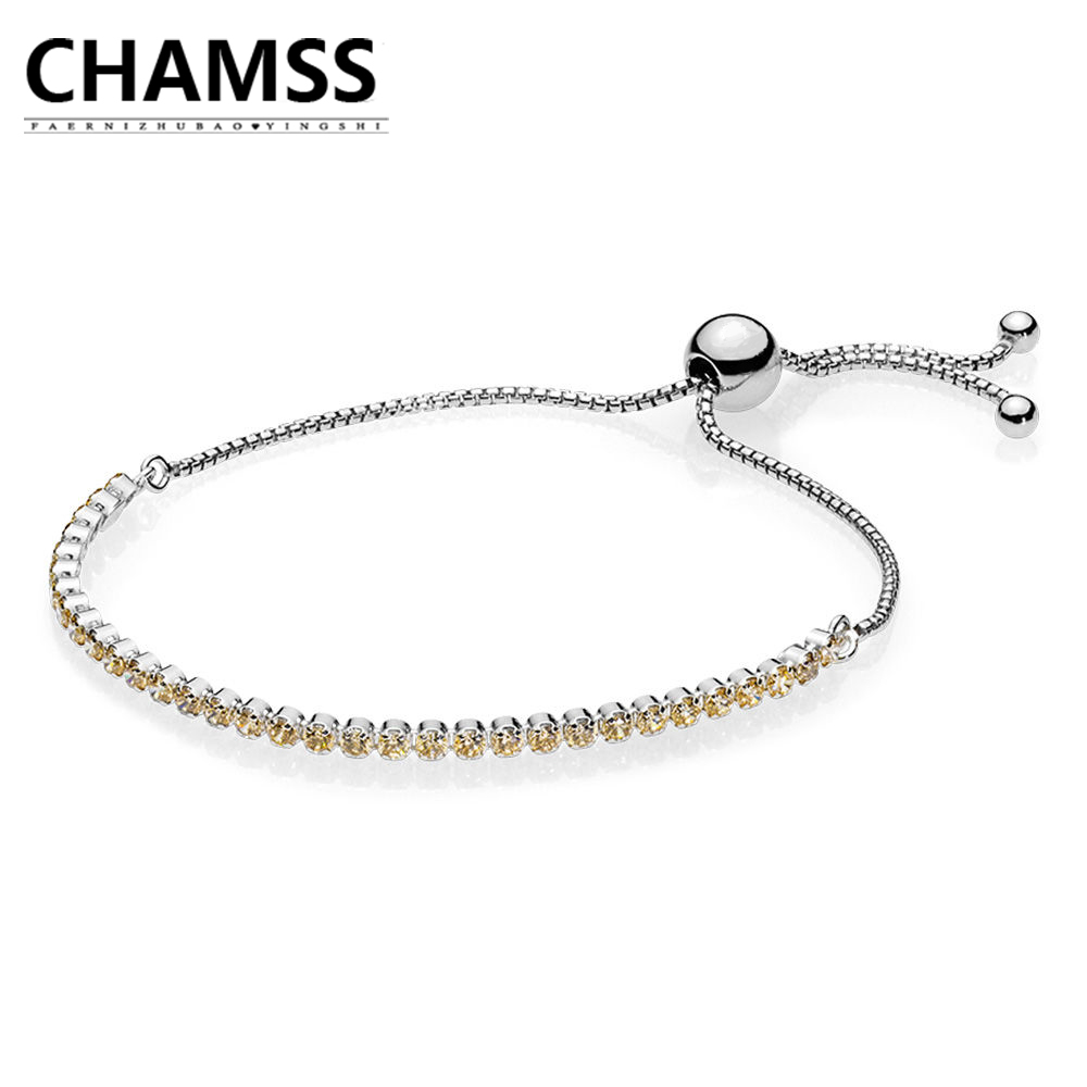 где купить CHAMSS PDs Woman Jewelry Golden Sparkling STRAND BRACELET Adjustable Yellow Zircon Bracelet Factory Direct Girlfriend Gift дешево