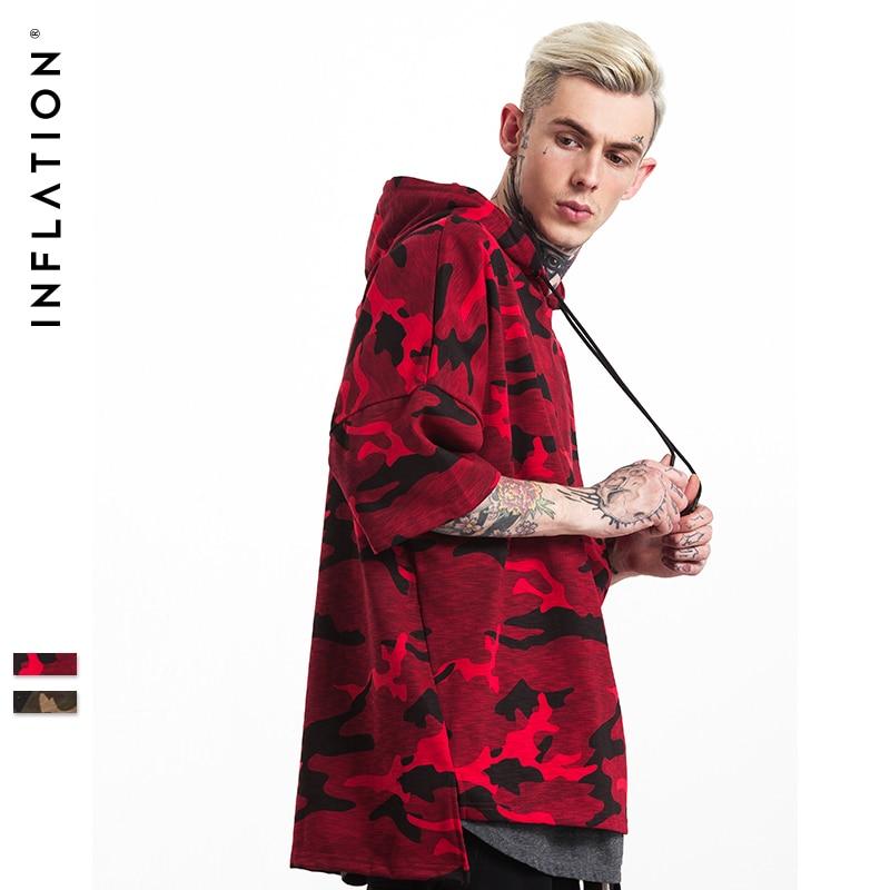 L'INFLATION Tendance de Camouflage Hommes À Manches Courtes À Capuche Mâle Streetwear Shirts Hip Hop Marque Vêtements 155W17