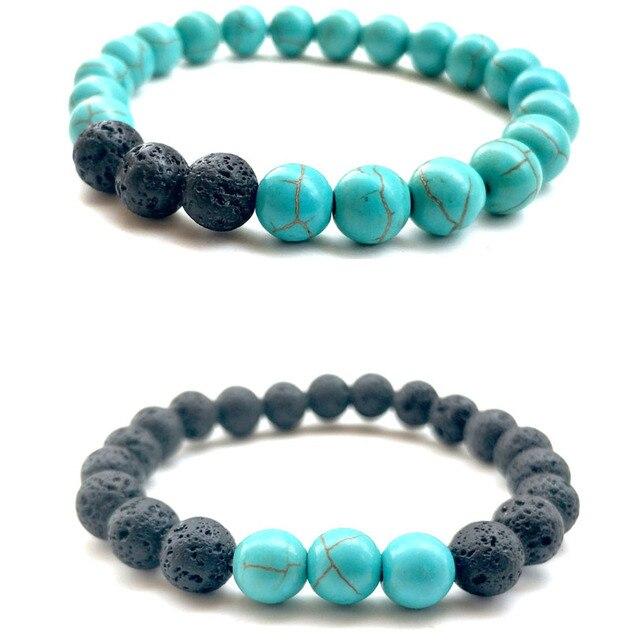 Bracelet Turquoises en pierre de lave noire naturelle Bracelets de roches  volcaniques noires Bracelets de cadeau