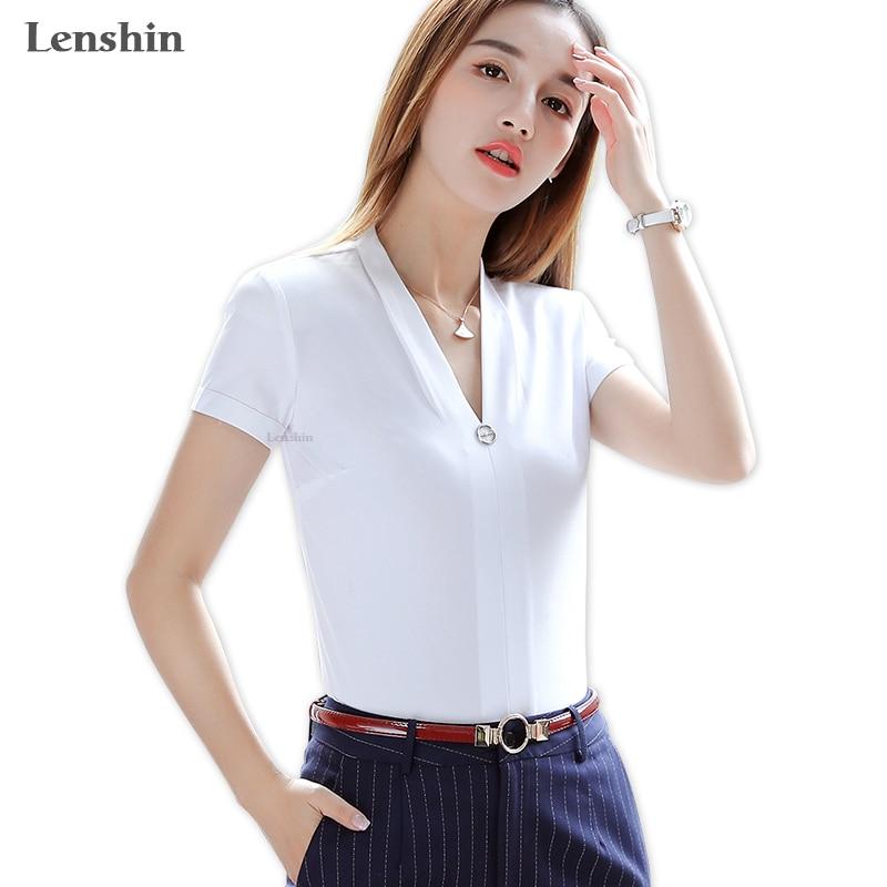 Lenshin de manga corta con cuello en V camisa blanca