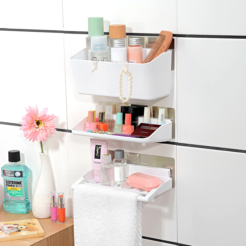 Large-capacity trace stickers Bathroom Shelves three sets, bathroom towel hanging cosmetic storage rack  农夫 山泉