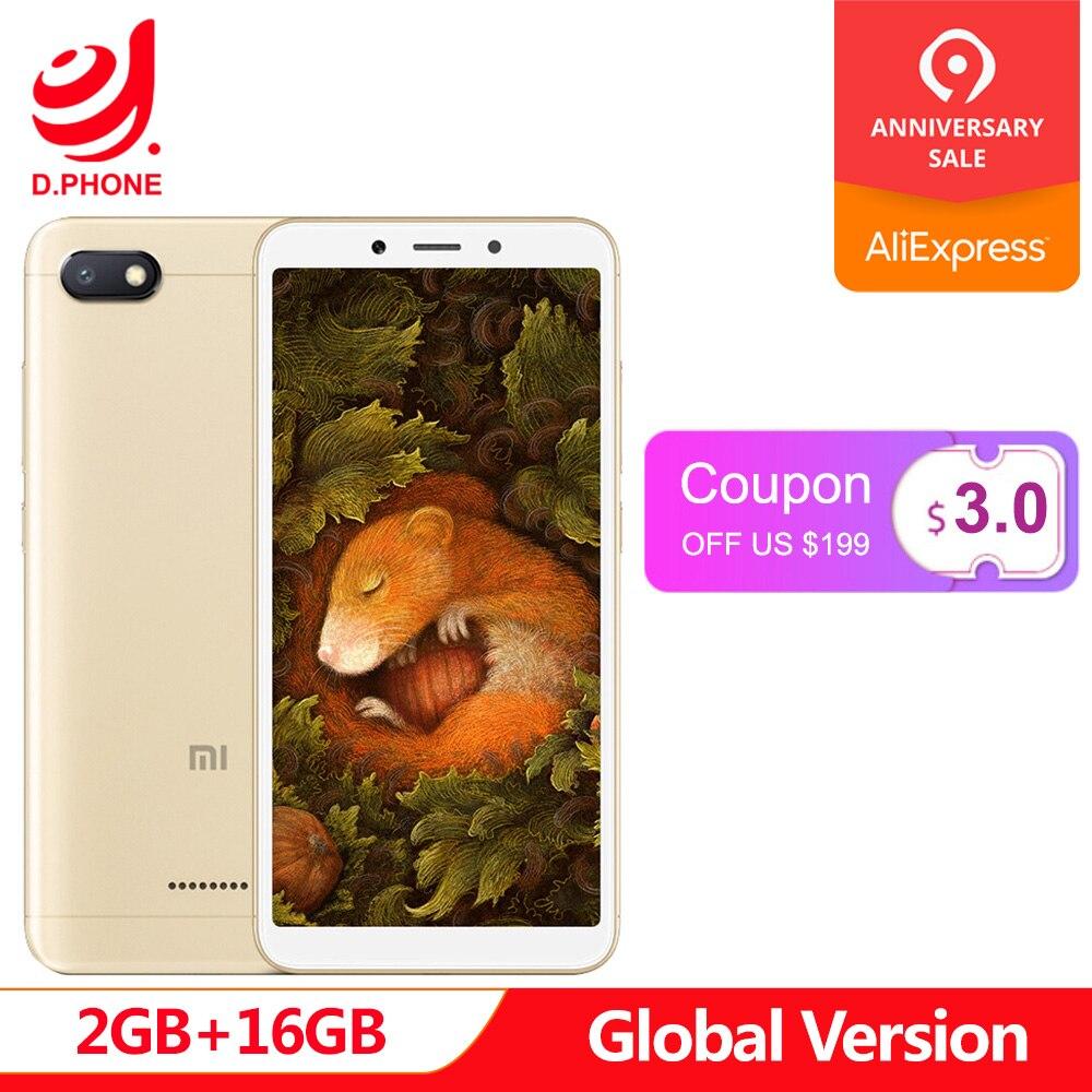 Original Global Version Xiaomi Redmi 6A 18:9 Full Screen MTK Helio A22 MIUI 9 2GB 16GB 4G LTE AI 13.0MP Face Recognition 6 A