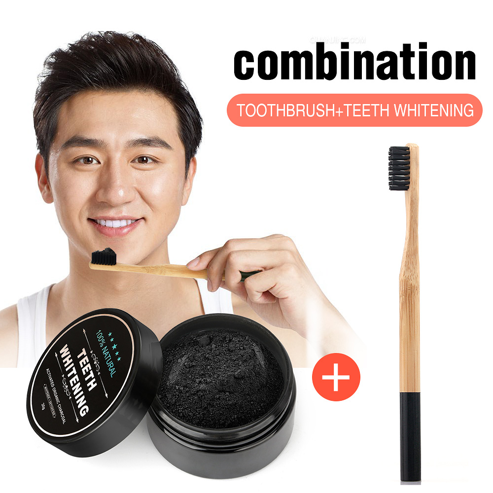 30g Teeth Whitening Oral Care Charcoal Powder Natural Activated Charcoal Powder Bamboo Toothbrush Oral Hygiene Dental Tooth Care