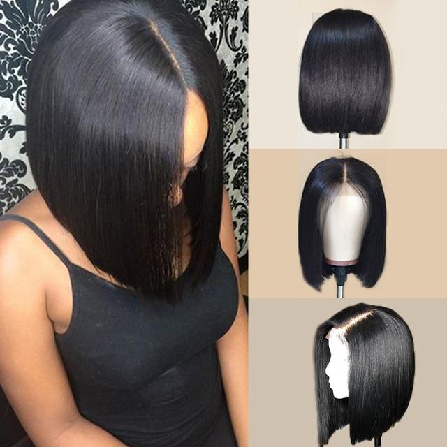 RXY Bob peruka peruwiańskie włosy remy prosto 13x6 wolna część krótki Bob koronki przodu włosów ludzkich peruk dla kobiet wstępnie oskubane z dzieckiem włosy