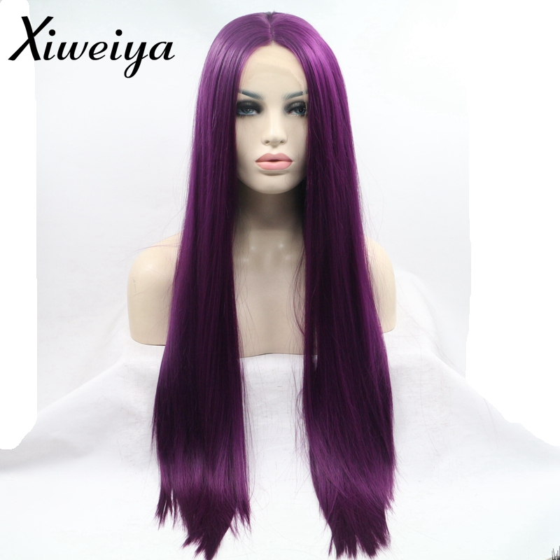 Xiweiya Heat resistant Synthetic purple lace front wig Soft Long purple middle parting wig for women