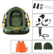 Rubber Boat Kit PVC Inflatable Fishing Drifting Rescue Raft Life Jacket Two Way Electric Pump Air Paddles