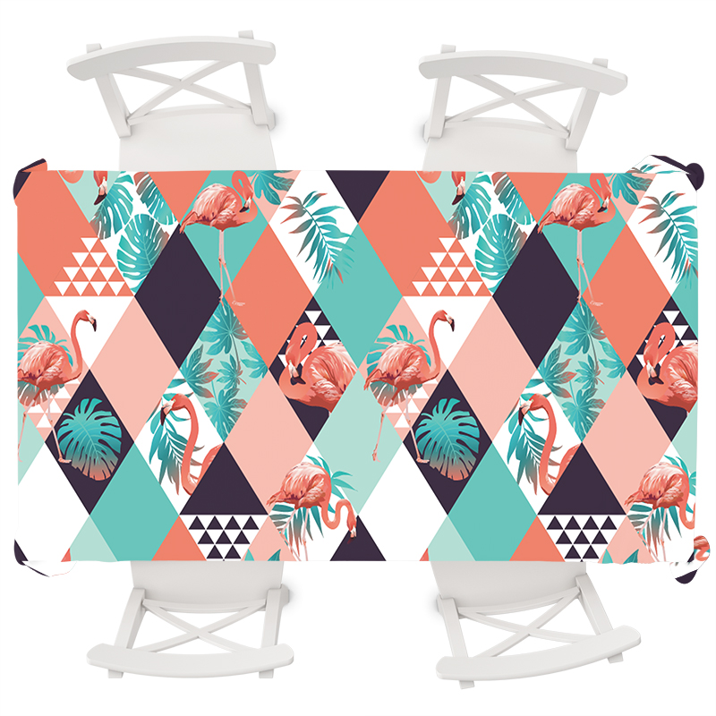 Nordic Geometric Rectangular Tablecloth Animal Flamingo Round Tropical Palm Tree Leaves Waterproof Boho