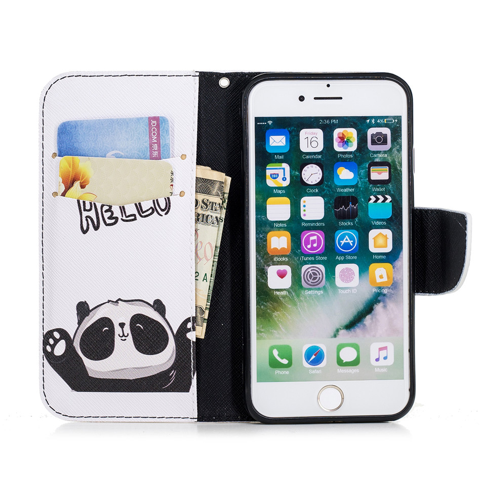 Vintage Case For Apple iphone XS X MAX XR Wallet Flip Capa For iphone 6 6S 7 8 Plus 5 5S SE Panda Unicorn Elephant Flamingo P07Z in Flip Cases from Cellphones Telecommunications