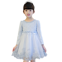 Girl Party Dresses Pink Blue Red Princess Long Sleeve Wedding Birthday Dress Size For 3 4