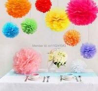 Cor quente 100 pcs 25 cm (10 polegadas) Papel Tissue Pom Poms Festa de Casamento Decoração, ofício da Flor de Papel Bola Decoração de Casa