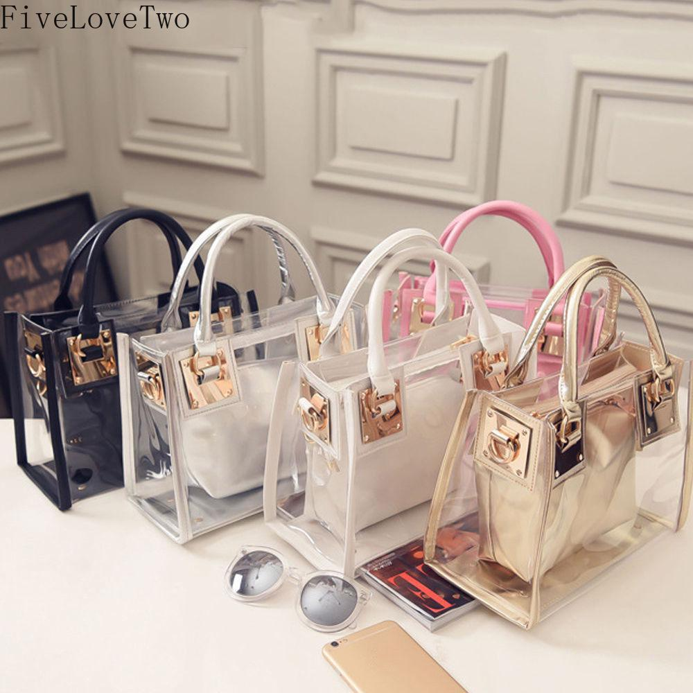 Fivelovetwo Transparent Handbag Purse Shoulder-Bag Jelly Clutch Clear Women Fashion 2pcs title=