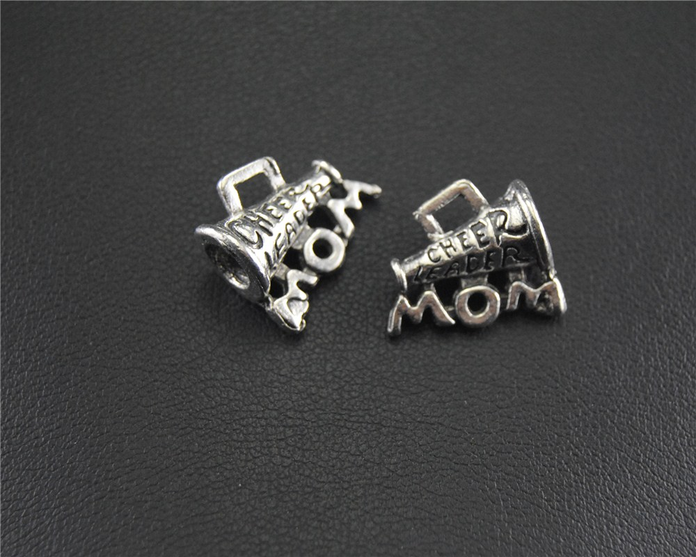 20pcs Antique Sliver cheer leader MOM Charm Pendant DIY Necklace Bracelet Bangle 14x15mm A1443