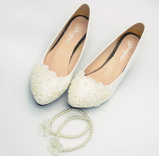 Lace flower ivory wedding pumps shoes woman sweet handmade string beads  ankle bracelet ladies girl bridesmaid ivory shoes aa0d444f34d9