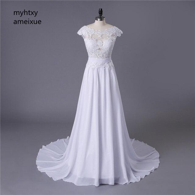 2020 תפור לפי מידה סקסי זול שמלות כלה Vestido דה Noiva Casamento שיפון תחרה ללא משענת Robe De Mariage כלה תוצרת סין