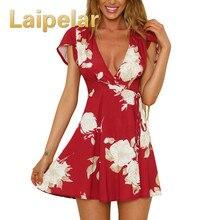 Laipelar Womens Dresses Casual Summer Beach Boho Floral Print Bohemian Dress Women Deep V-Neck Short Sleeve Mini Wrap Dress цена и фото