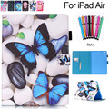 For iPad Air 1 Case Cartoon Cute Cards Slots Flip Stand Case with Magnetic PU Leather Protective Cover for Apple iPad Air1 5