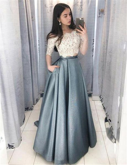 Bbonlinedress New Arrival Two Pieces Evening Dress 2019 Short Sleeves Formal Dress Top Lace Pocket Floor Length Evening Gown 1