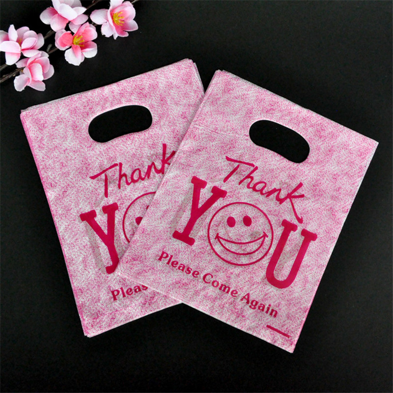 100pcs/Set 15x20cm Thank You Smile Print Plastic Gift Bag Handle Favor Jewelry Boutique Shopping Party Gift Packaging Plastic