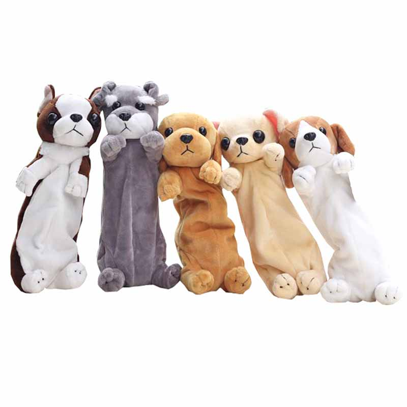New Cartoon Animals Plush Pencil Case Kawaii Dog Pen Bag Novelty School Stationery Case Pencil Box For Kids Gift School Supplies