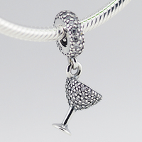 Fits Pandora Charms Bracelet Necklace DIY Beads Cocktail Glass Silver Dangle With Cubic Zirconia 925 Sterling