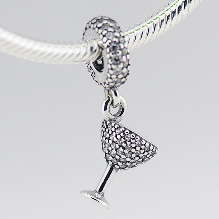 Fits Pandora Charms Bracelet & Necklace DIY Beads Cocktail Glass Silver Dangle with Cubic Zirconia 925 Sterling Silver Jewelry