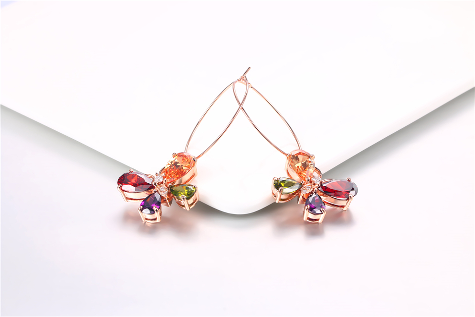 c PISSENLIT Clover Shape Drop Earrings Colorful Rhinestone Earrings Women Jewelry 2019 New Fashion Grace Summer Jewelry For Beach