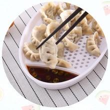Круглый блюдо для пельменей кухня с уксусом блюдо двойной слив еда лоток пельмени суши поднос продолговатые пластины