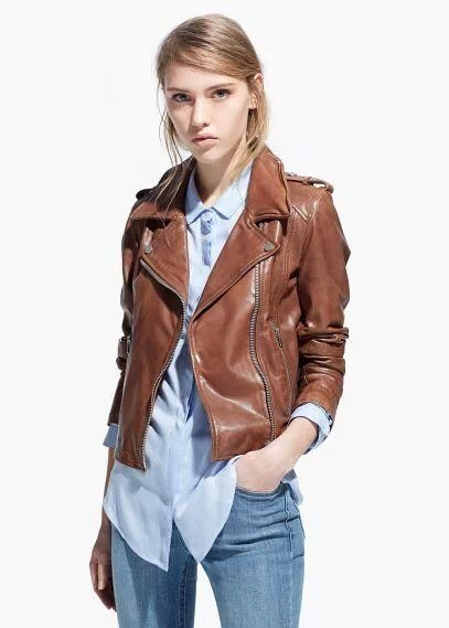 ZA 2015SS Autumn New fashion womens Boyfriend Motorcycle casual leather jacket zipper Biker Jackets with Epaulet