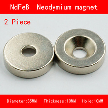 2PCS diameter 35mm thickness 10mm hole 10mm n35 Rare Earth strong Permanent NdFeB Neodymium Magnet цена