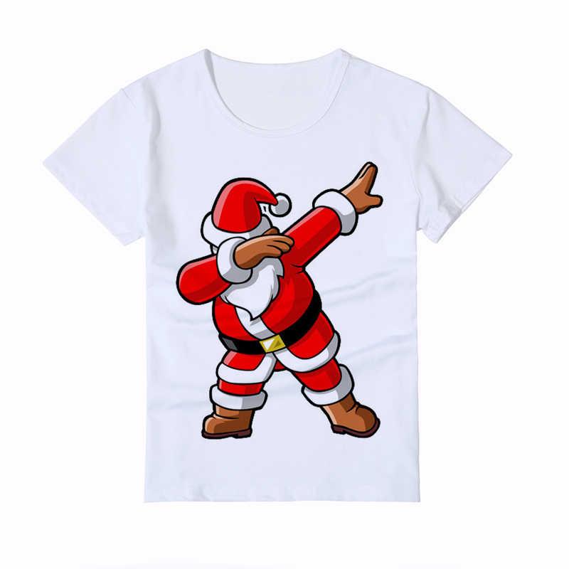 Dabbing คริสต์มาสกวางตลกเด็ก t เสื้อเด็กลำลอง tee สาวเสื้อ homme น่ารักการ์ตูนเด็กเสื้อ y2-4