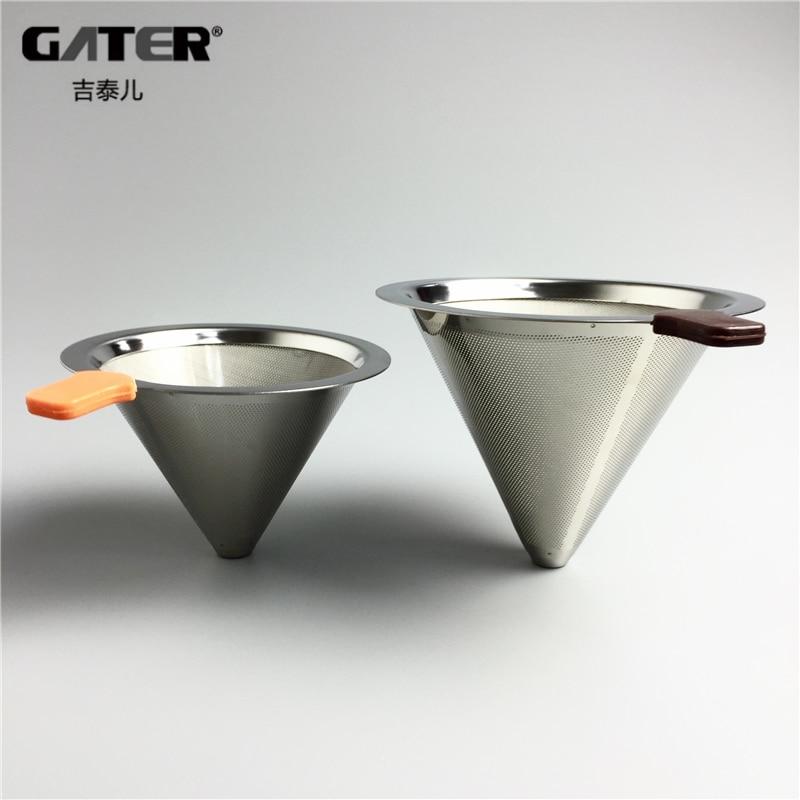 GATER korduvkasutatavad roostevabast terasest kohvifiltri korvid Püsiv kasutamine vaba filtri paberil Metallist kohvi tilkfiltrid Köögitööriistad