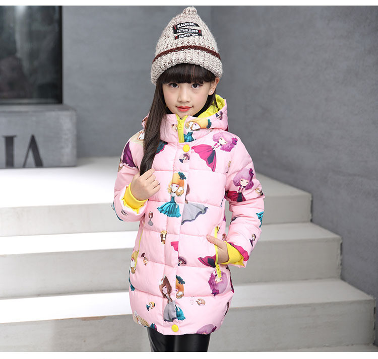 Children Girls Winter Coats Hooded Cartoon Print Jackets Fashion Clothes For Teenage Girls 5-12Y SY 2017 new winter sytle children clothing fashion cartoon print girls down & parkas 1 6y hooded children jackets coats for girls