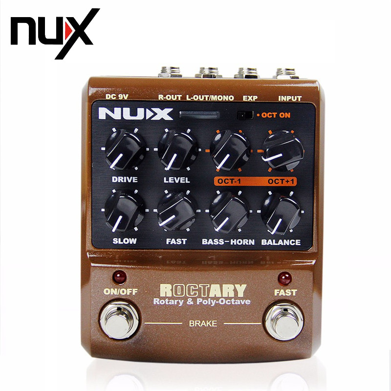 NUX ROCTARY Rotary Speake & Polyphonic Octave Effect Guitar Pedal Stomp Boxes Force Series True Bypass Guitar Part Free Shipping aroma aos 3 aos 3 octpus polyphonic octave electric mini digital guitar effect pedal with aluminium alloy true bypass