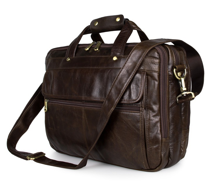 Nesitu Large Capacity Vintage Brown Genuine Leather Men Briefcase 15.6'' Laptop Men Messenger Bags Business Travel Bags #M7146