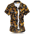 2016 Summer New Men's Monkey Print Shirt Fashion Luxurious Short Sleeve Shirt Men High Quality Slim Fit Mens Casual Shirts 6XL