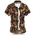 2016 Verão Nova dos homens Camisa Impressão Macaco Moda Luxuoso Curto manga da Camisa Dos Homens de Alta Qualidade Slim Fit Mens Camisas Casuais 6XL