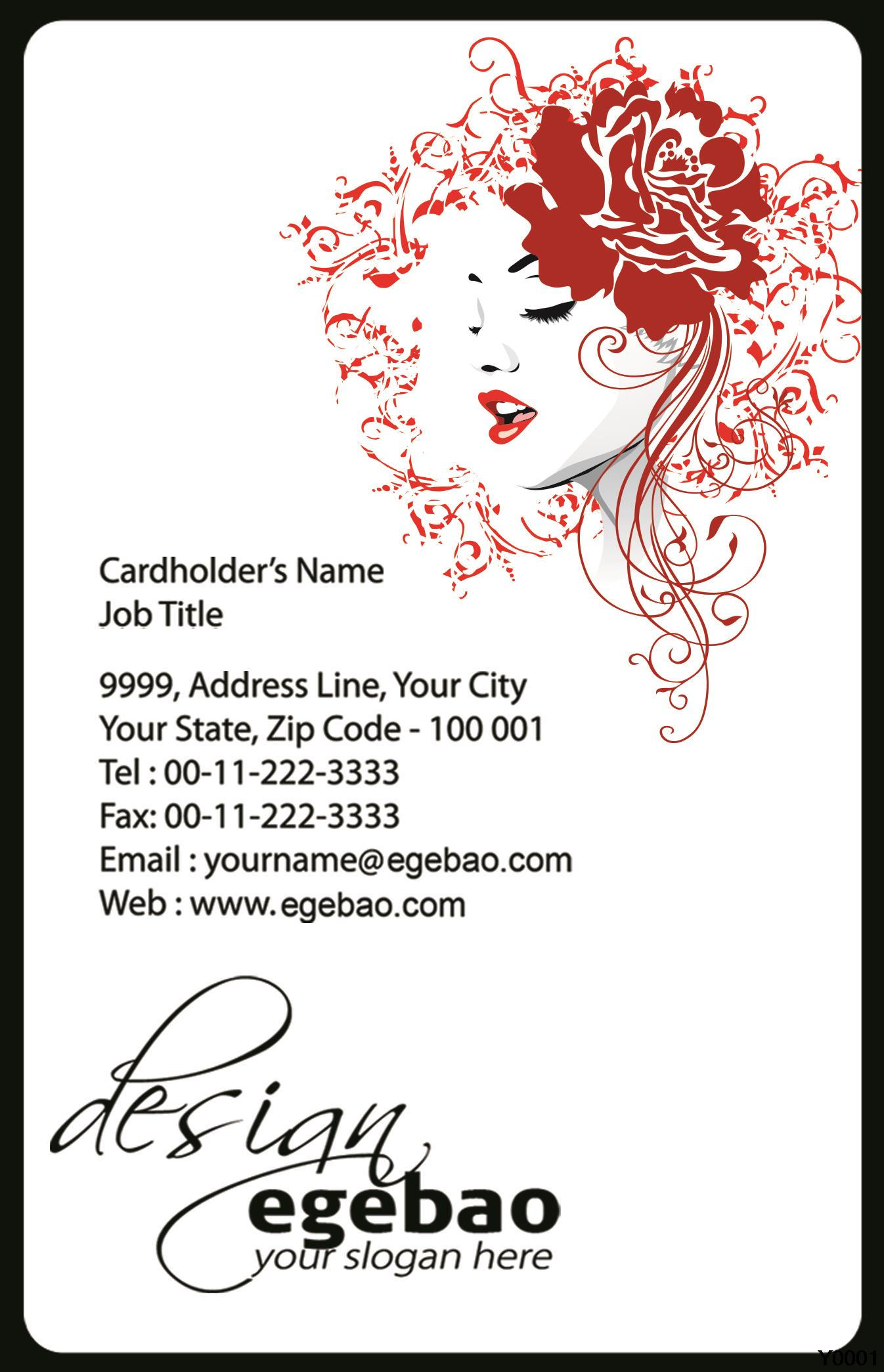 Y0017 beautiful girl with red rose and floral hair business card ...