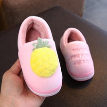 ft2019 Children's home cotton slippers with velveteen and thickened non-slip wrap slippers