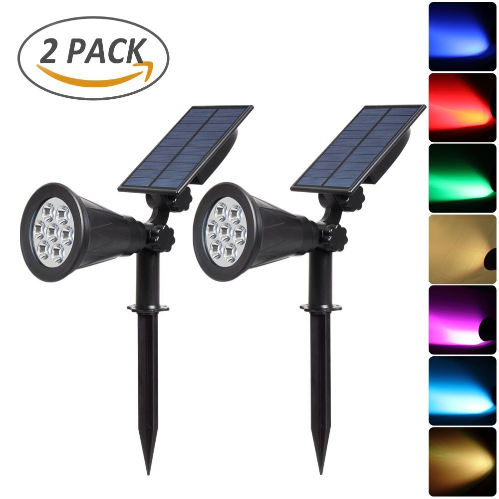 T-SUNRISE 2PACK Solar Spotlights 7 LED Outdoor Color Changing Wall Light Adjustable Solar Landscape Lights for Patio Yard Garden