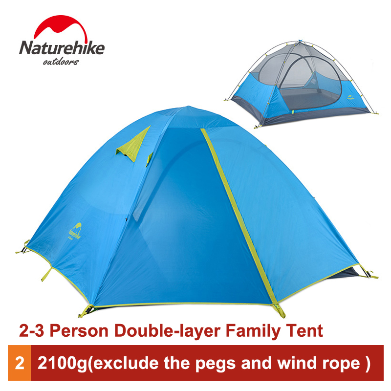 Naturehike 2-3 Person Camping Tent Outdoor Family Tent Double Layer Waterproof Tent NH16S002-S/NH16S003-S high quality outdoor camping double layer 2 person aluminum rod tent waterproof windproof high strength camping tent