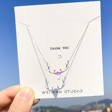 S925 sterling silver multicolored elk necklace Mori moonlight antler clavicle chain birthday gift female thai silver necklace hand chain s925 sterling silver men clavicle necklace authentic wholesale