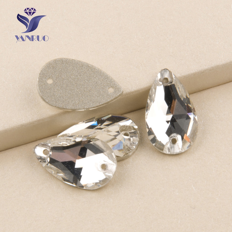 YANRUO #3230 All Sizes Clear Teardrop Flatback Sew On Glitter Strass Crystal Rhinestone For Wedding Decoration