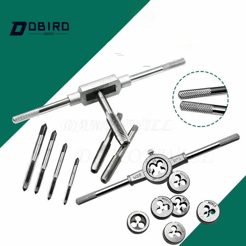 8pcs 3F Hand Screw Thread Metric Plug Tap Set M3 M4 M5 M6 M8 with Adjustable Wrench 1/16-1/4 Manual Metalworking Tool Sets