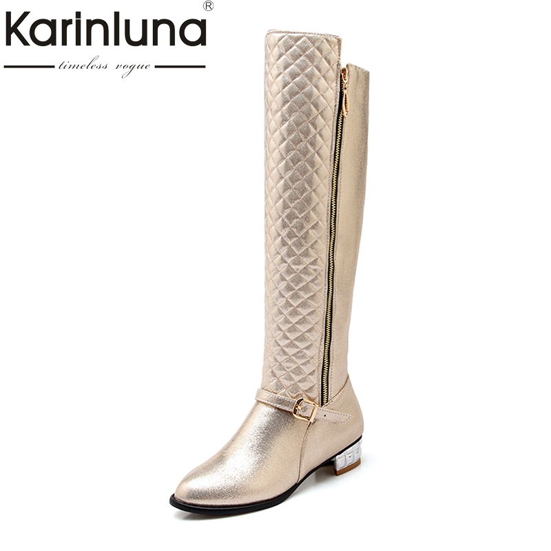 KARINLUNA Brand New Large Size 34-45 Square Heels Women Shoes Woman Knee High Boots Add Fur Winter Shoe Black Gold Sliver new women sexy lace up knee high boots high square heels women boots winter snow boots casual shoes woman large size 34 46